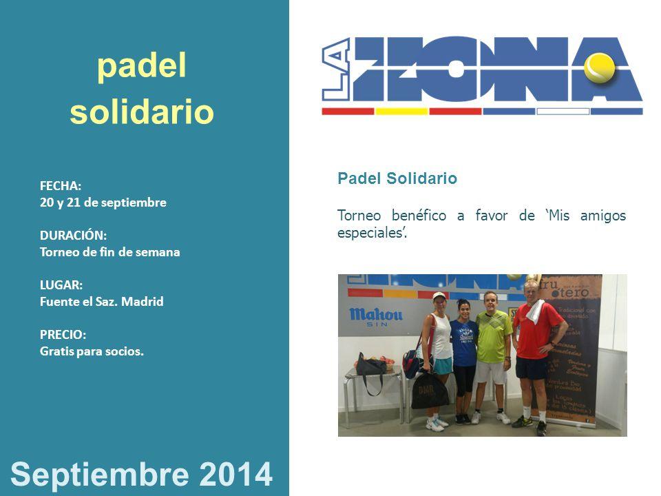 padel solidario Septiembre 2014 Padel Solidario