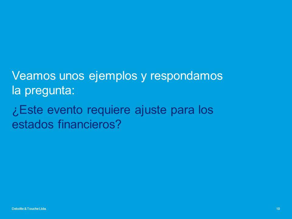 Veamos unos ejemplos y respondamos la pregunta: ¿Este evento requiere ajuste para los estados financieros
