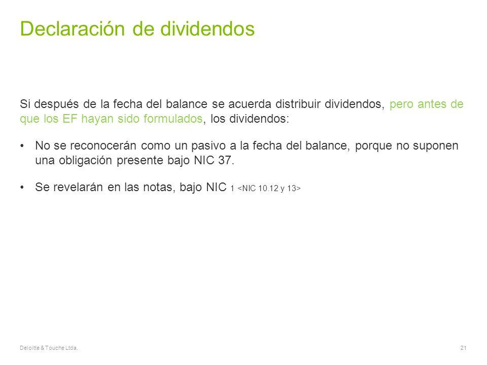 Declaración de dividendos