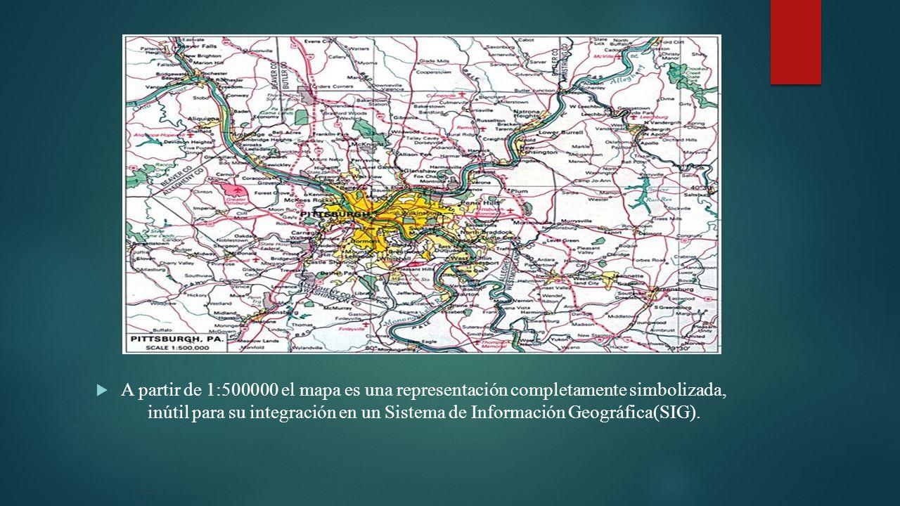 A partir de 1:500000 el mapa es una representación completamente simbolizada, inútil para su integración en un Sistema de Información Geográfica(SIG).