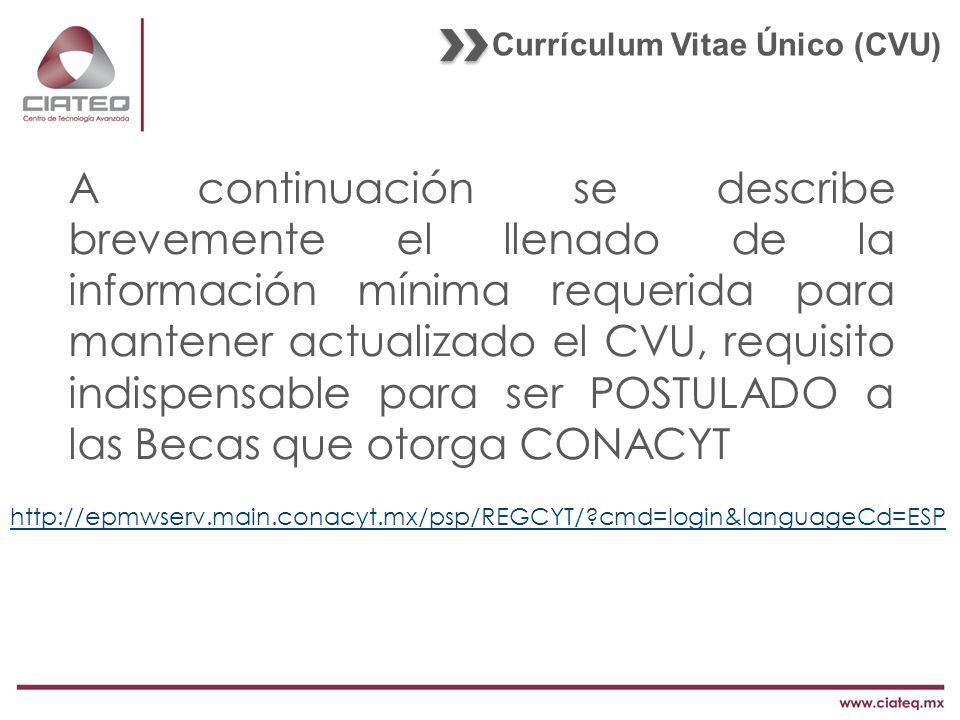 Currículum Vitae Único (CVU)