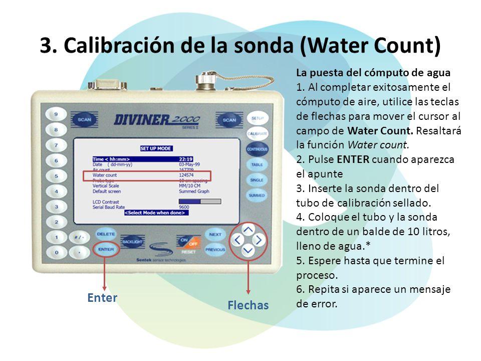 3. Calibración de la sonda (Water Count)