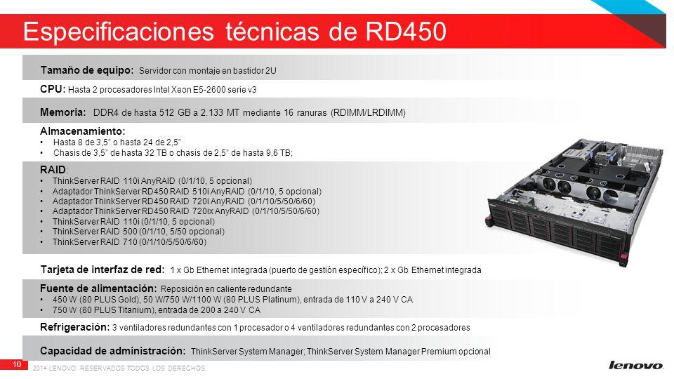 Especificaciones técnicas de RD450