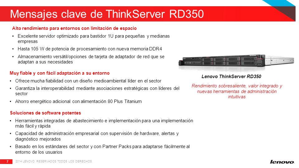 Mensajes clave de ThinkServer RD350
