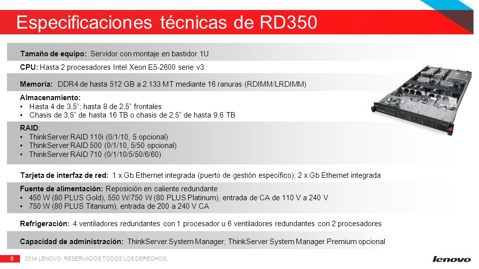 Especificaciones técnicas de RD350