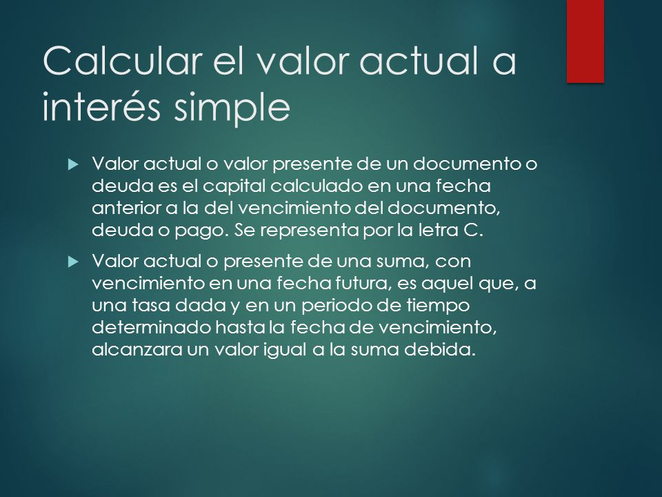 Calcular el valor actual a interés simple