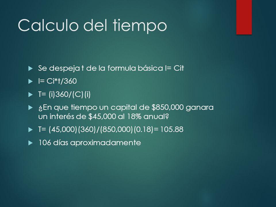 Calculo del tiempo Se despeja t de la formula básica I= Cit