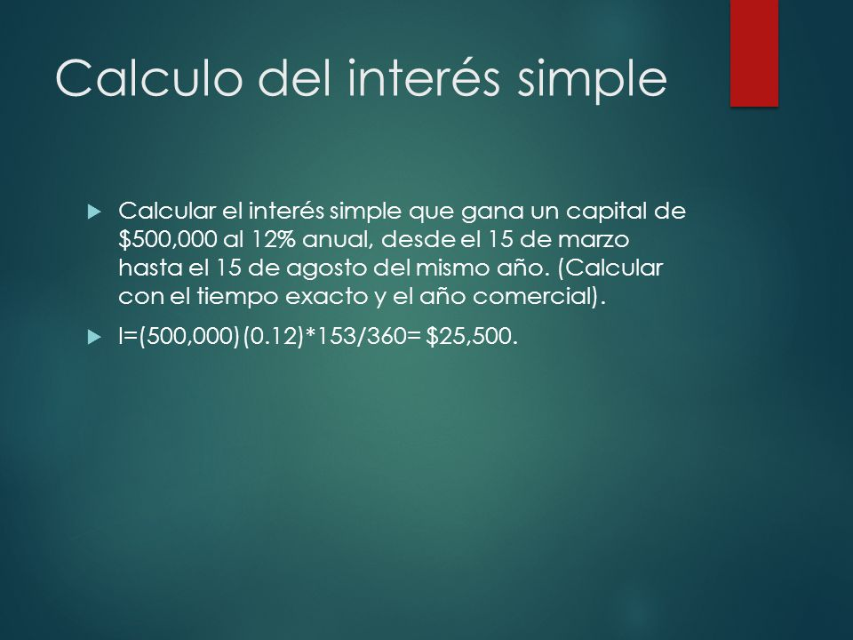 Calculo del interés simple