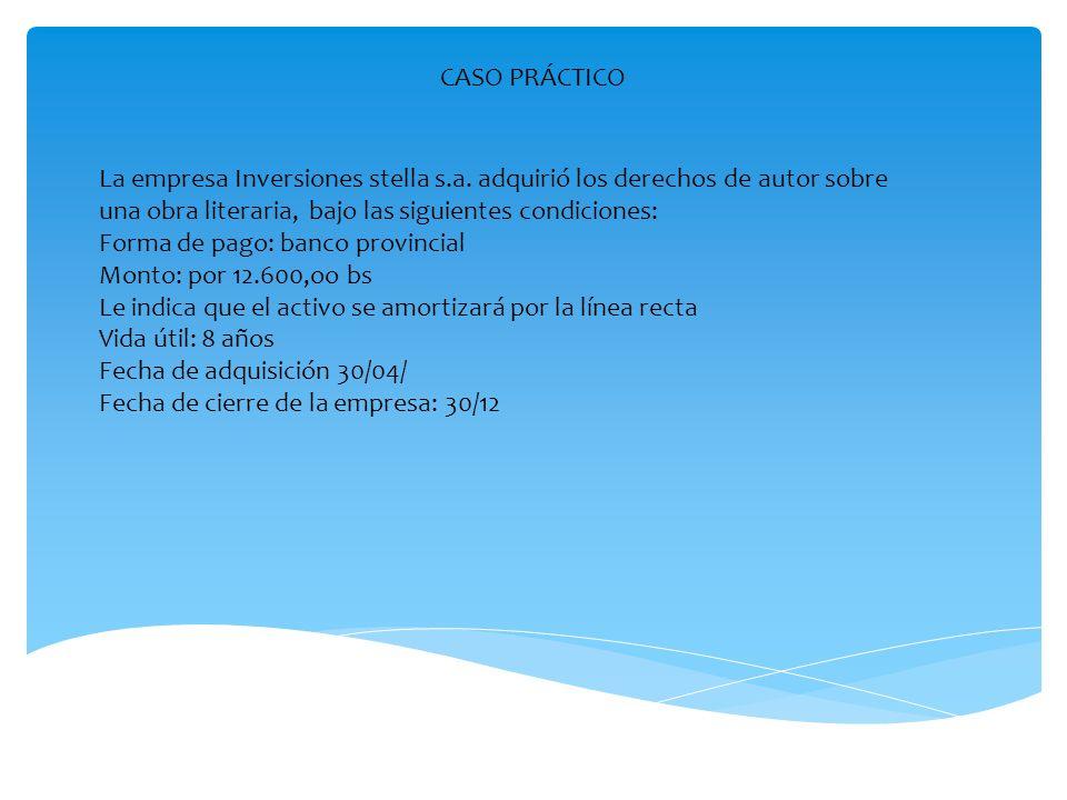 CASO PRÁCTICO La empresa Inversiones stella s.a. adquirió los derechos de autor sobre una obra literaria, bajo las siguientes condiciones: