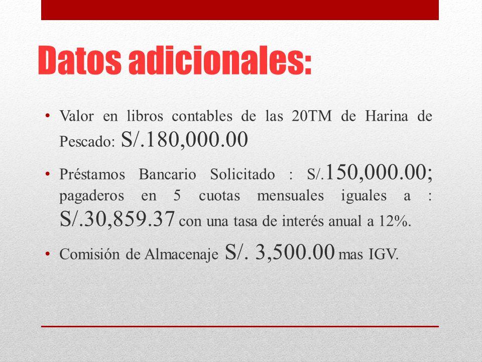 Datos adicionales: Valor en libros contables de las 20TM de Harina de Pescado: S/.180,000.00.