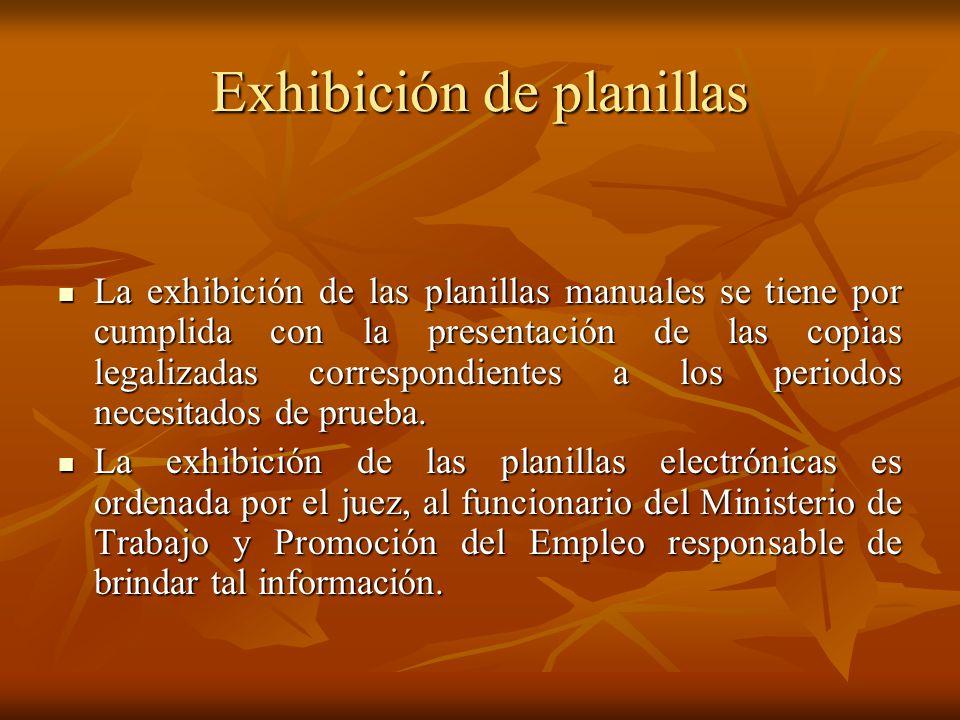 Exhibición de planillas