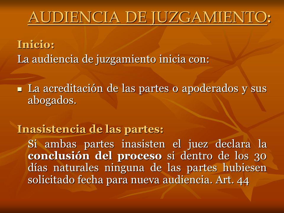 AUDIENCIA DE JUZGAMIENTO:
