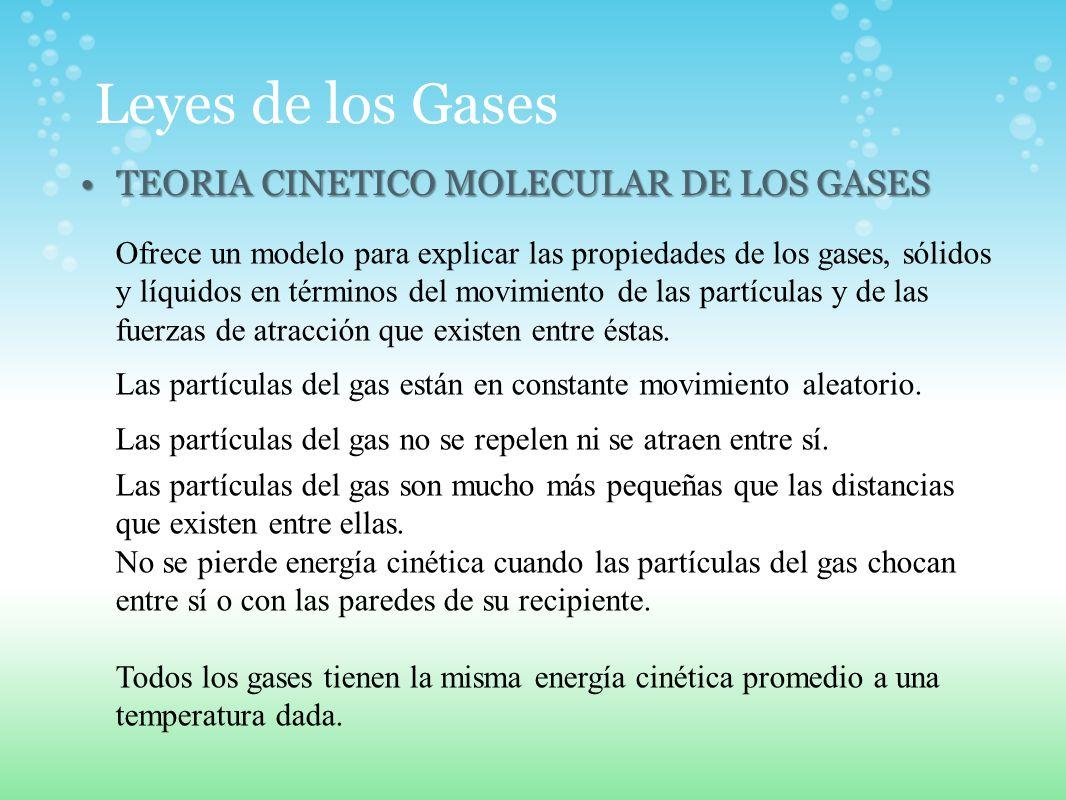 Leyes de los Gases TEORIA CINETICO MOLECULAR DE LOS GASES