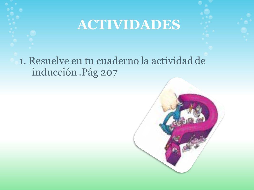 ACTIVIDADES 1. Resuelve en tu cuaderno la actividad de inducción .Pág 207