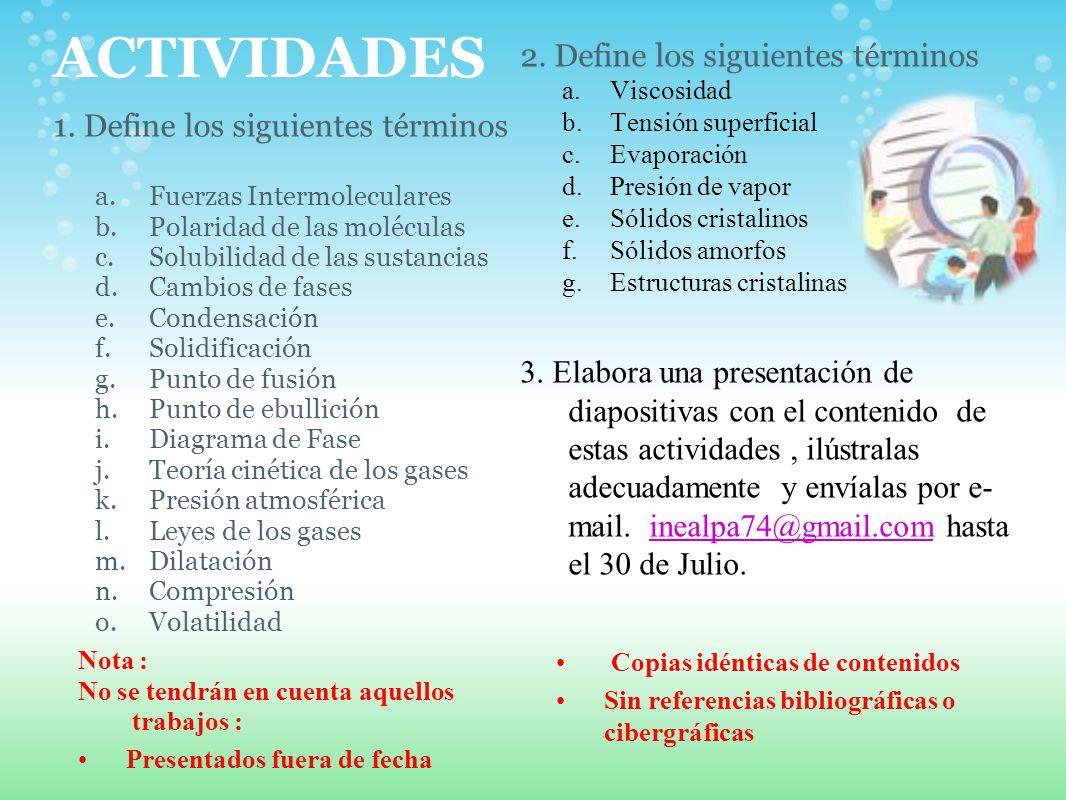 ACTIVIDADES 2. Define los siguientes términos