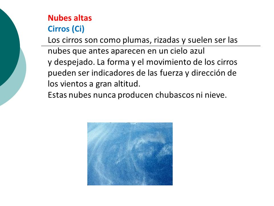 Nubes altas Cirros (Ci)