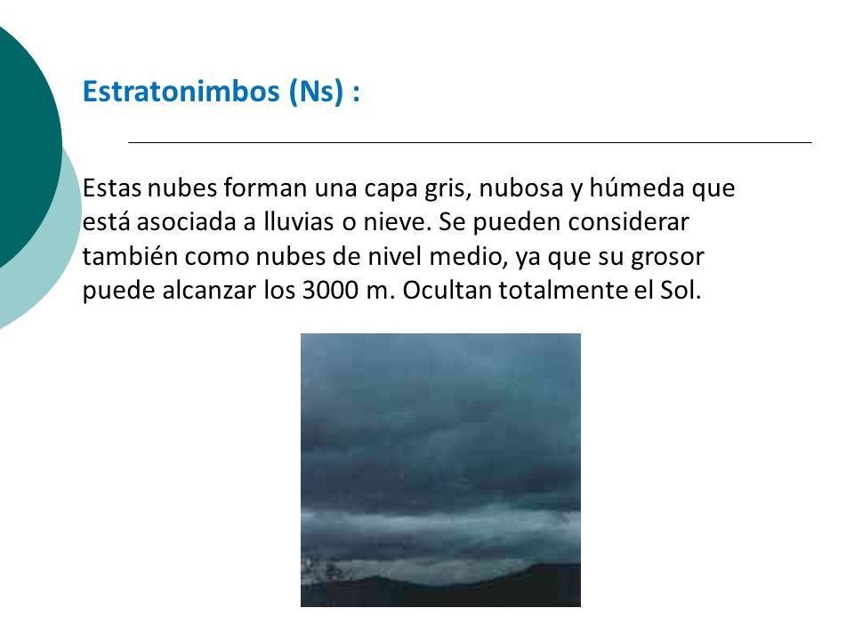 Estratonimbos (Ns) :