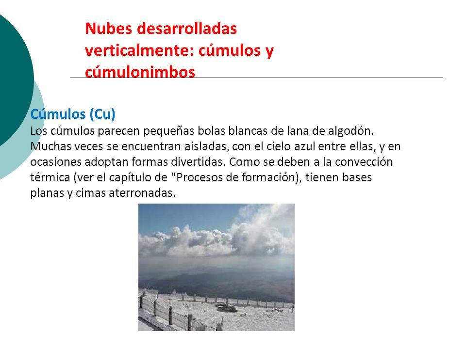 Nubes desarrolladas verticalmente: cúmulos y cúmulonimbos