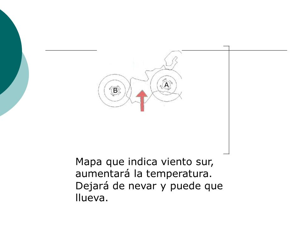 Mapa que indica viento sur, aumentará la temperatura