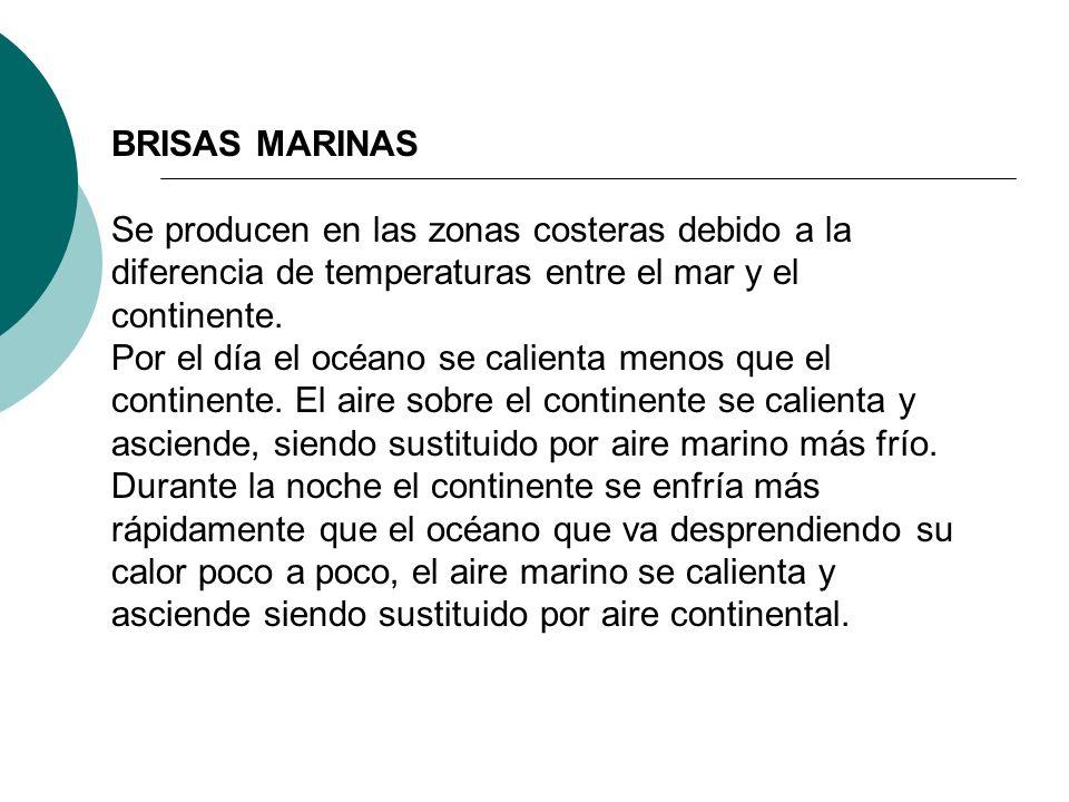 BRISAS MARINAS Se producen en las zonas costeras debido a la diferencia de temperaturas entre el mar y el continente.