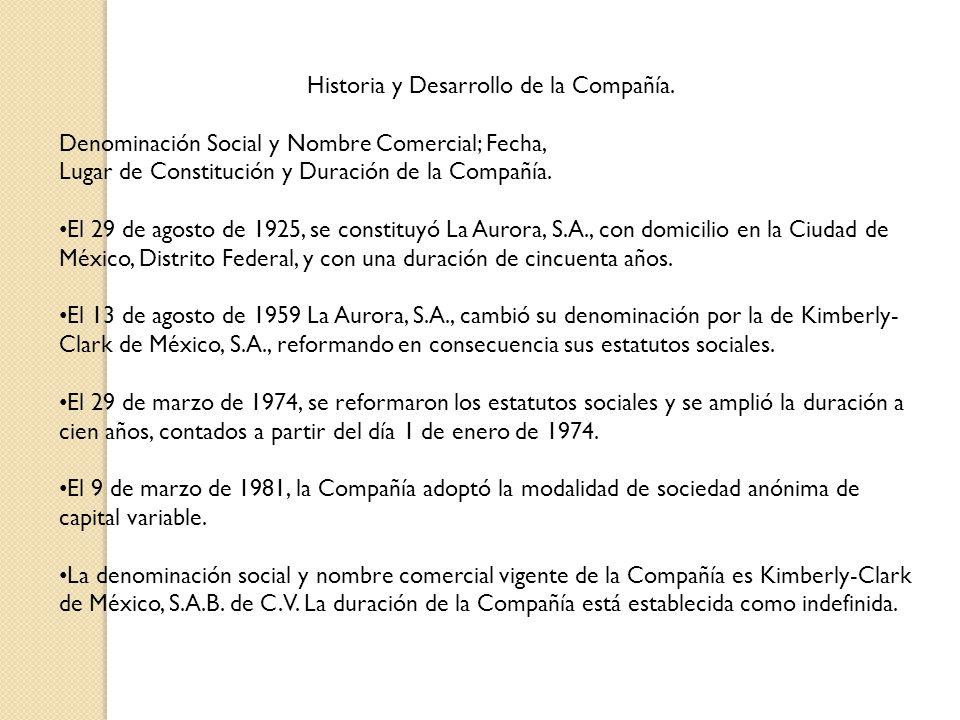 Historia y Desarrollo de la Compañía.