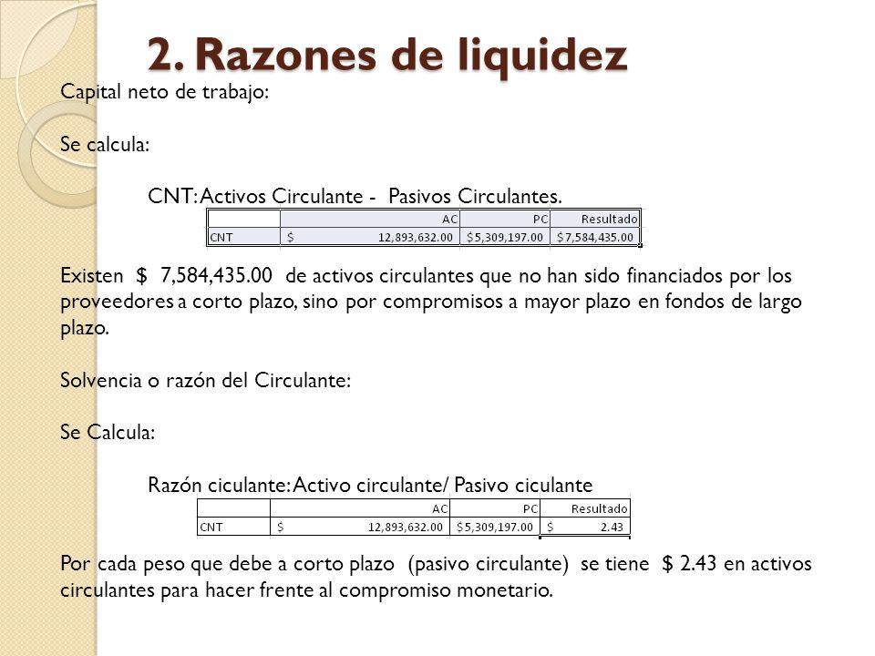2. Razones de liquidez Capital neto de trabajo: Se calcula: