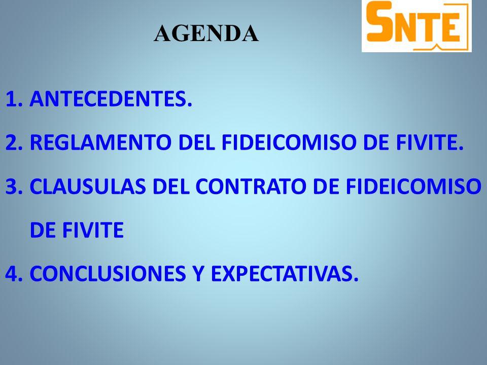 AGENDA ANTECEDENTES. REGLAMENTO DEL FIDEICOMISO DE FIVITE. CLAUSULAS DEL CONTRATO DE FIDEICOMISO DE FIVITE.