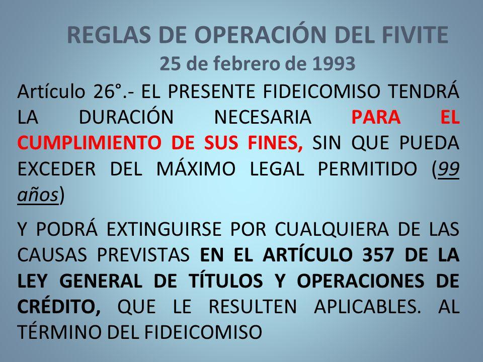 REGLAS DE OPERACIÓN DEL FIVITE 25 de febrero de 1993