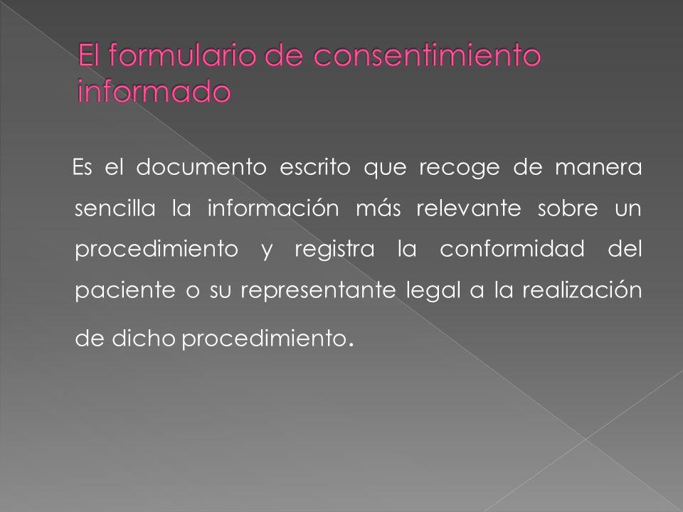 El formulario de consentimiento informado