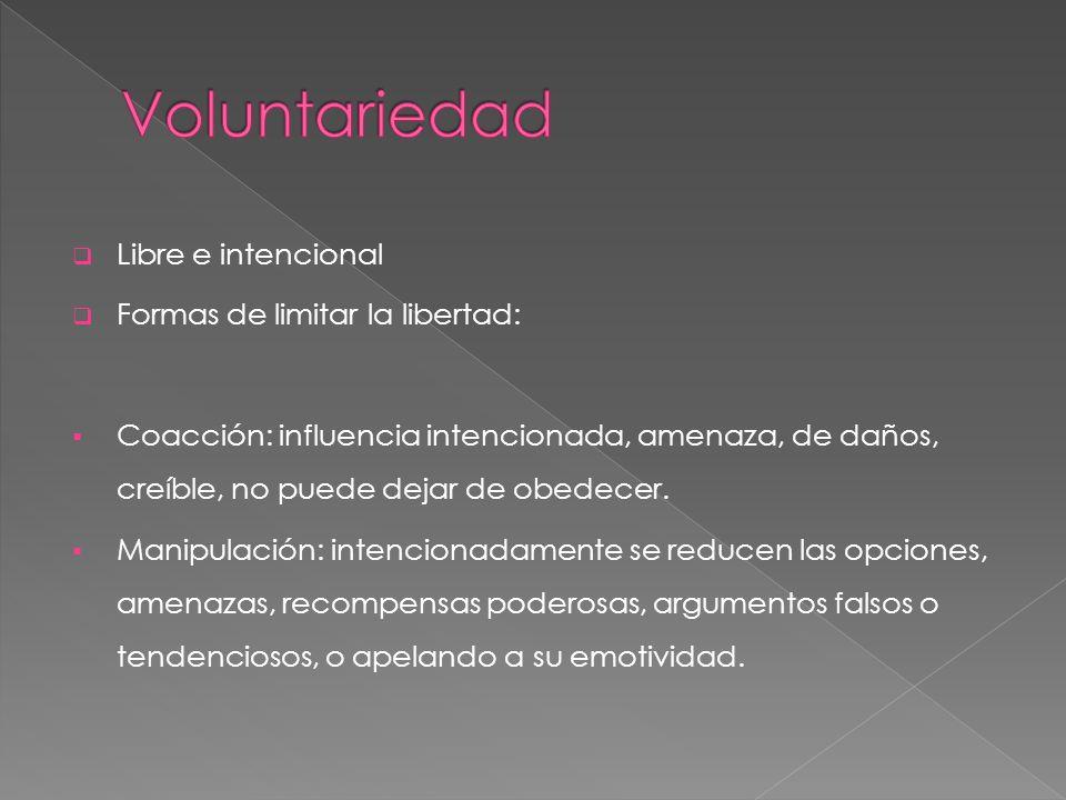Voluntariedad Libre e intencional Formas de limitar la libertad: