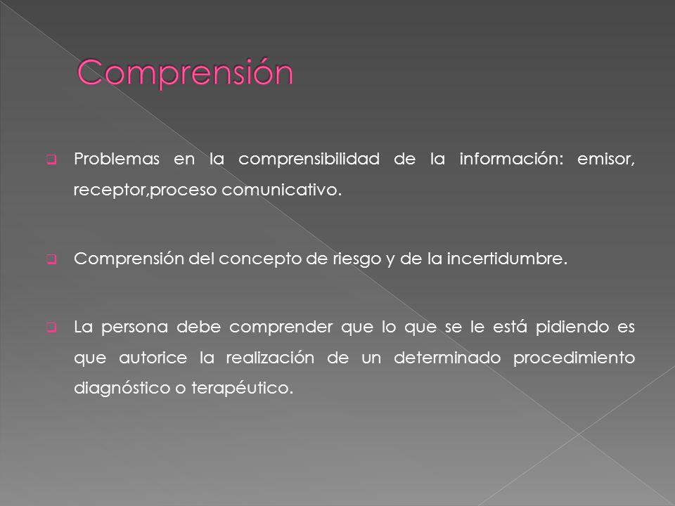 Comprensión Problemas en la comprensibilidad de la información: emisor, receptor,proceso comunicativo.