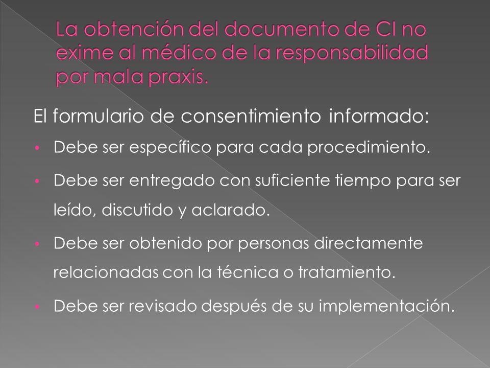La obtención del documento de CI no exime al médico de la responsabilidad por mala praxis.