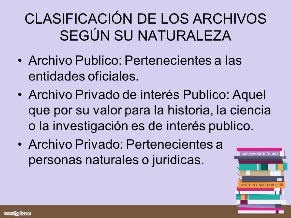 CLASIFICACIÓN DE LOS ARCHIVOS SEGÚN SU NATURALEZA