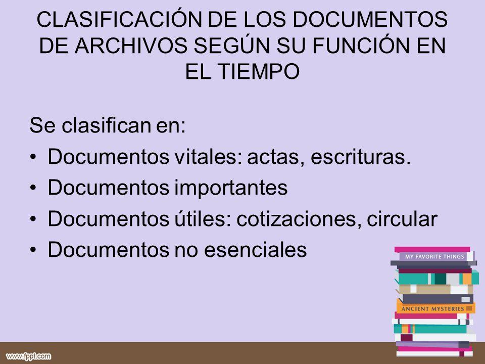 CLASIFICACIÓN DE LOS DOCUMENTOS DE ARCHIVOS SEGÚN SU FUNCIÓN EN EL TIEMPO