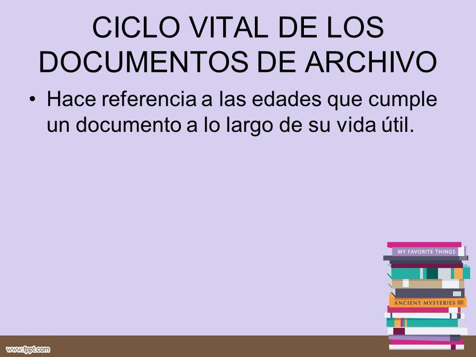 CICLO VITAL DE LOS DOCUMENTOS DE ARCHIVO
