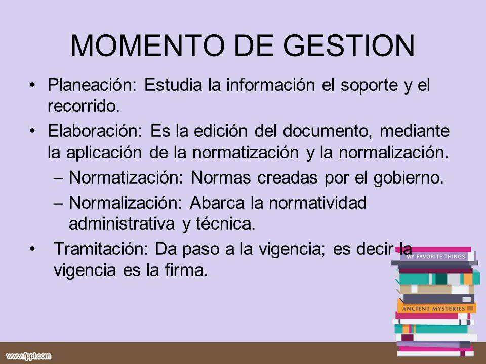 MOMENTO DE GESTION Planeación: Estudia la información el soporte y el recorrido.