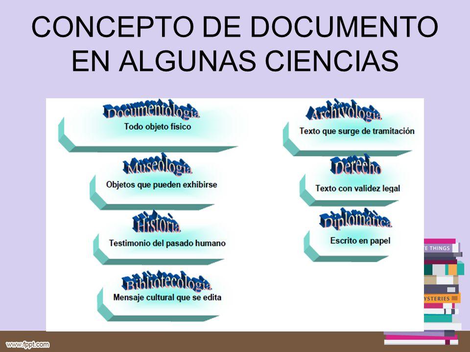 CONCEPTO DE DOCUMENTO EN ALGUNAS CIENCIAS