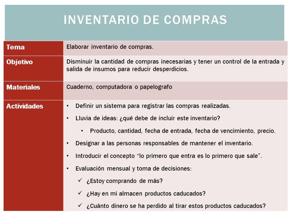 Inventario de Compras Tema Objetivo Materiales Actividades