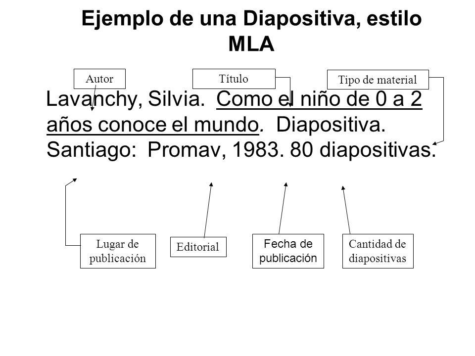 Ejemplo de una Diapositiva, estilo MLA
