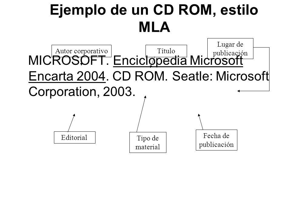 Ejemplo de un CD ROM, estilo MLA