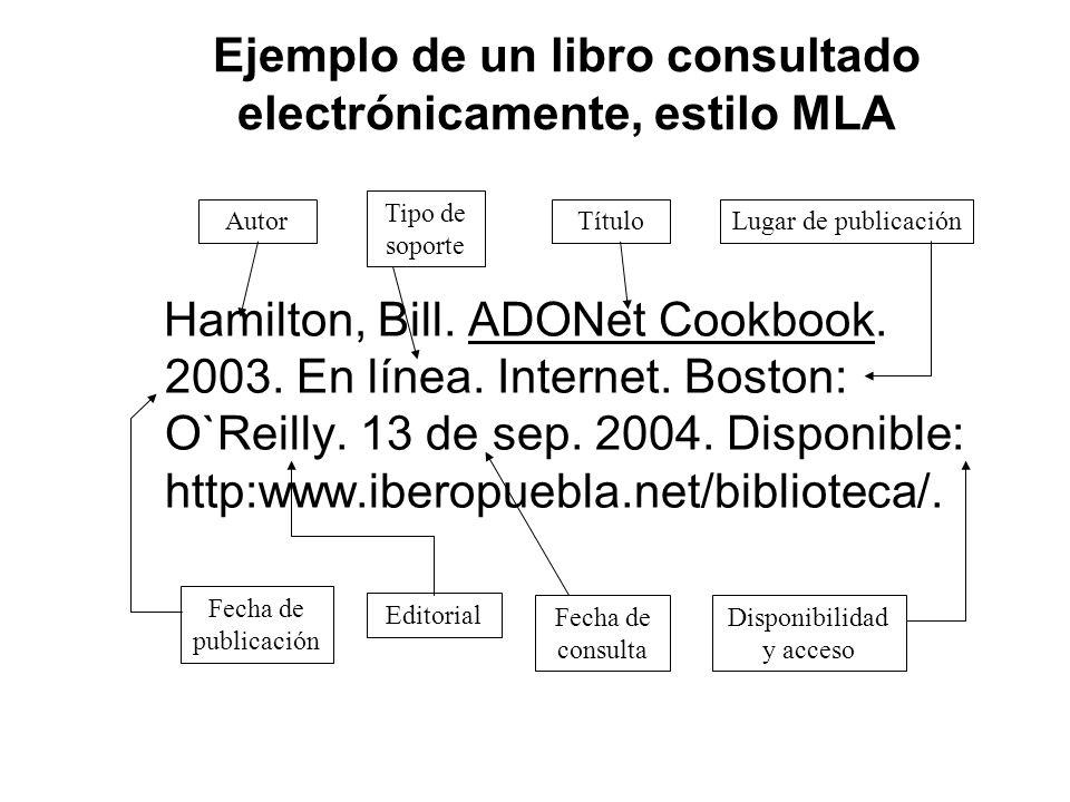 Ejemplo de un libro consultado electrónicamente, estilo MLA