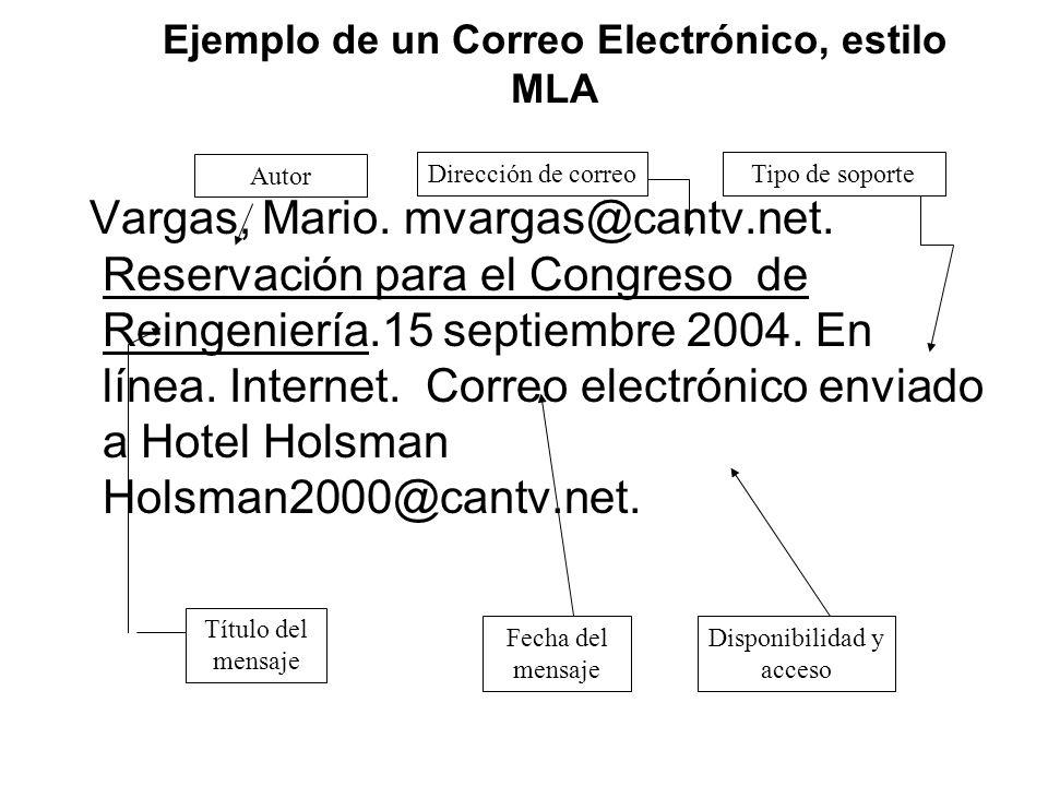Ejemplo de un Correo Electrónico, estilo MLA