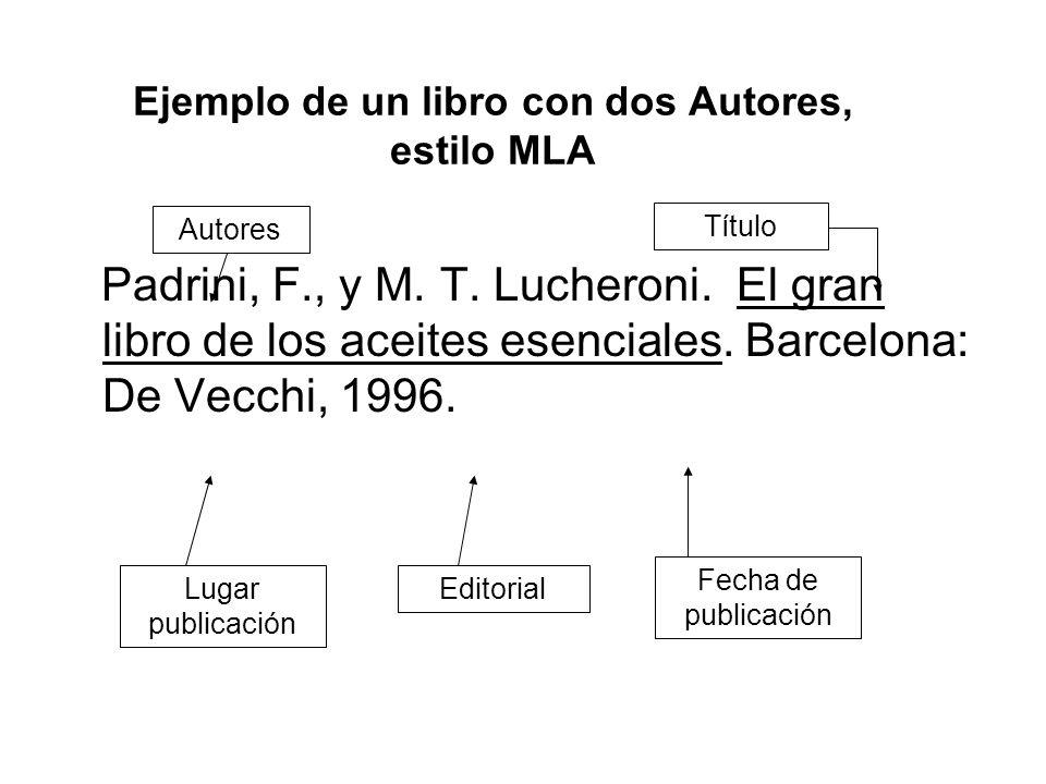 Ejemplo de un libro con dos Autores, estilo MLA