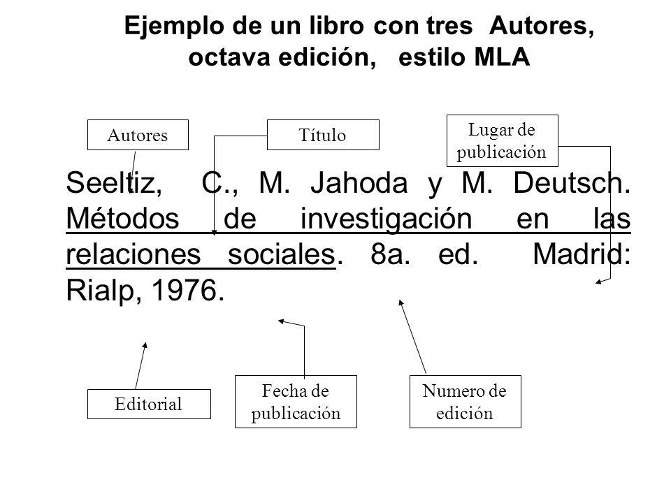 Ejemplo de un libro con tres Autores, octava edición, estilo MLA