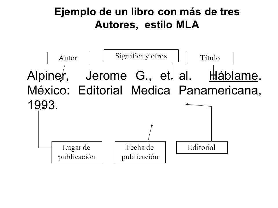 Ejemplo de un libro con más de tres Autores, estilo MLA