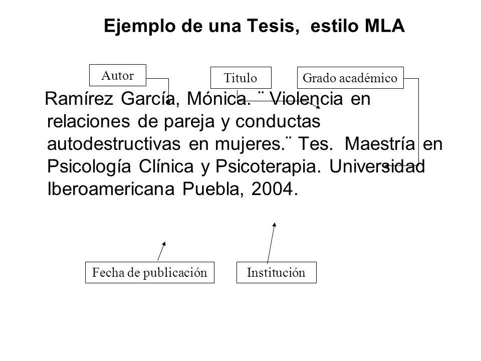 Ejemplo de una Tesis, estilo MLA
