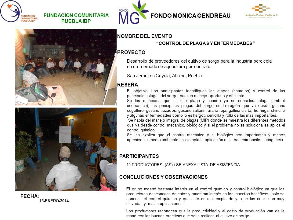 FUNDACION COMUNITARIA PUEBLA IBP CONTROL DE PLAGAS Y ENFERMEDADES