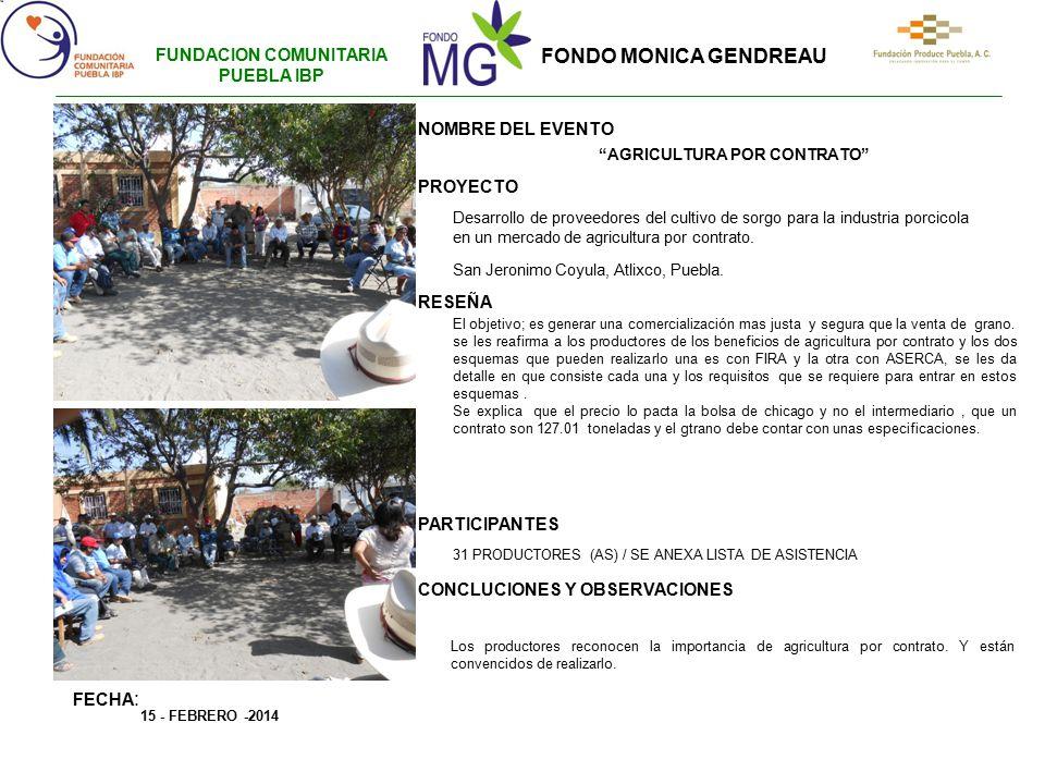 FUNDACION COMUNITARIA PUEBLA IBP AGRICULTURA POR CONTRATO