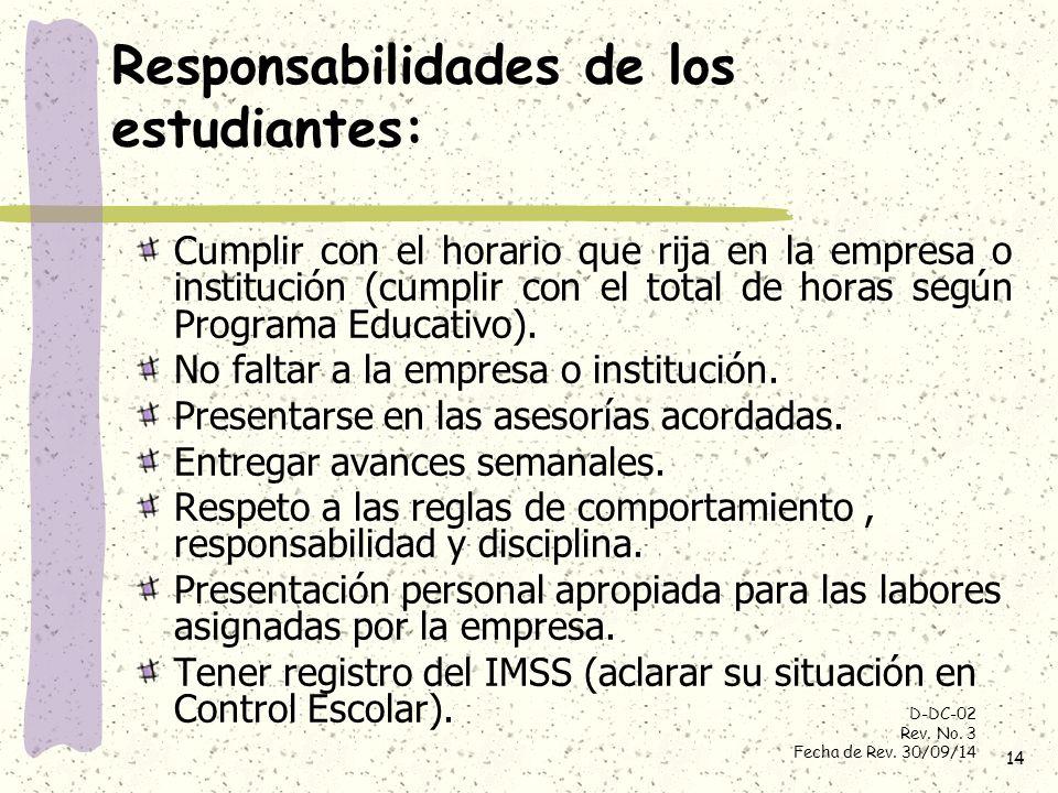 Responsabilidades de los estudiantes: