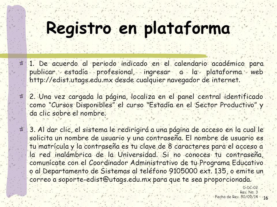 Registro en plataforma